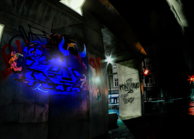ein-graffiti-nachts-im-lessingtunnel-mit-schwarzlicht-angestrahlt
